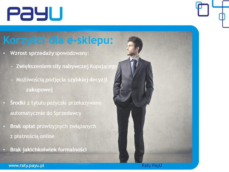 www.raty.payu.plRaty PayU Korzyści dla e-sklepu: Wzrost sprzedaży spowodowany: - Zwiększeniem siły nabywczej Kupującego - Możliwością podjęcia szybkie