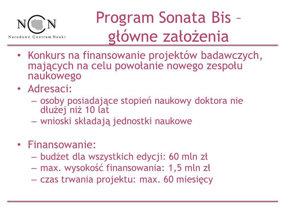 Program Sonata Bis – główne założenia Konkurs na finansowanie projektów badawczych, mających na celu powołanie nowego zespołu naukowego Adresaci: – os