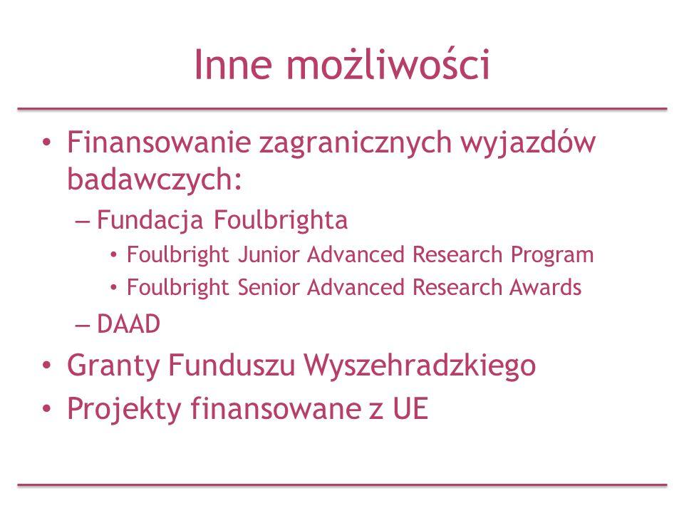 Inne możliwości Finansowanie zagranicznych wyjazdów badawczych: – Fundacja Foulbrighta Foulbright Junior Advanced Research Program Foulbright Senior A