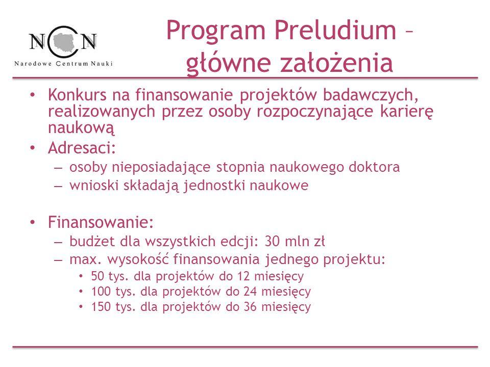 Program Preludium – główne założenia Konkurs na finansowanie projektów badawczych, realizowanych przez osoby rozpoczynające karierę naukową Adresaci: