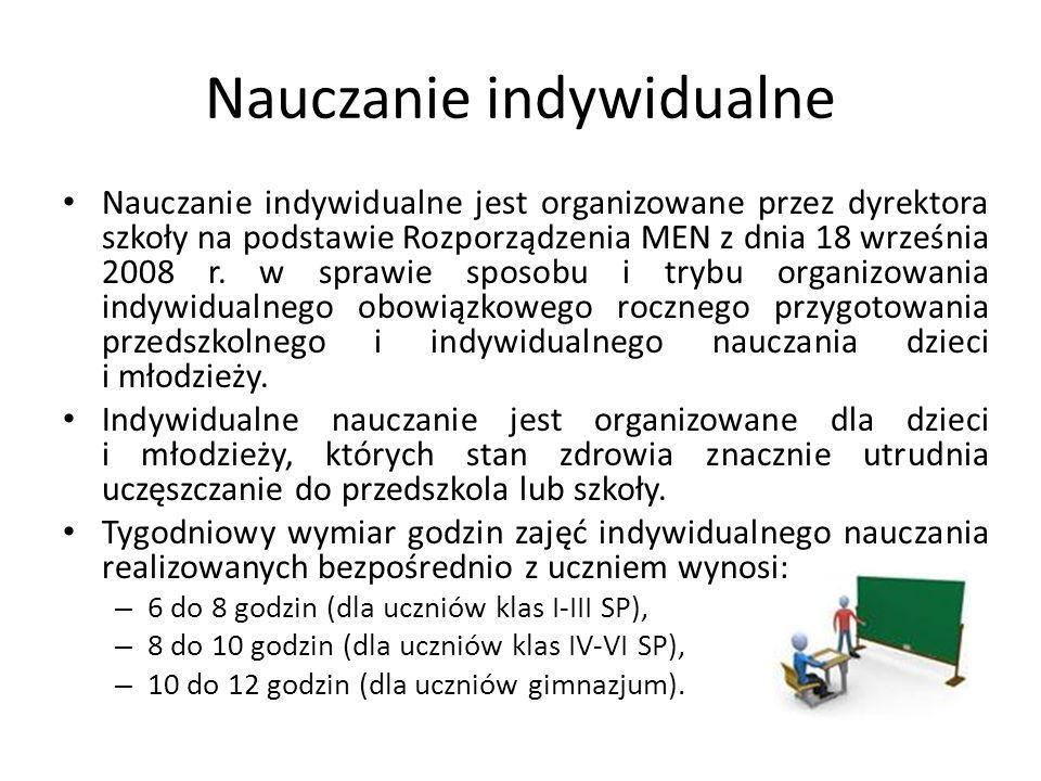 Nauczanie indywidualne Nauczanie indywidualne jest organizowane przez dyrektora szkoły na podstawie Rozporządzenia MEN z dnia 18 września 2008 r.