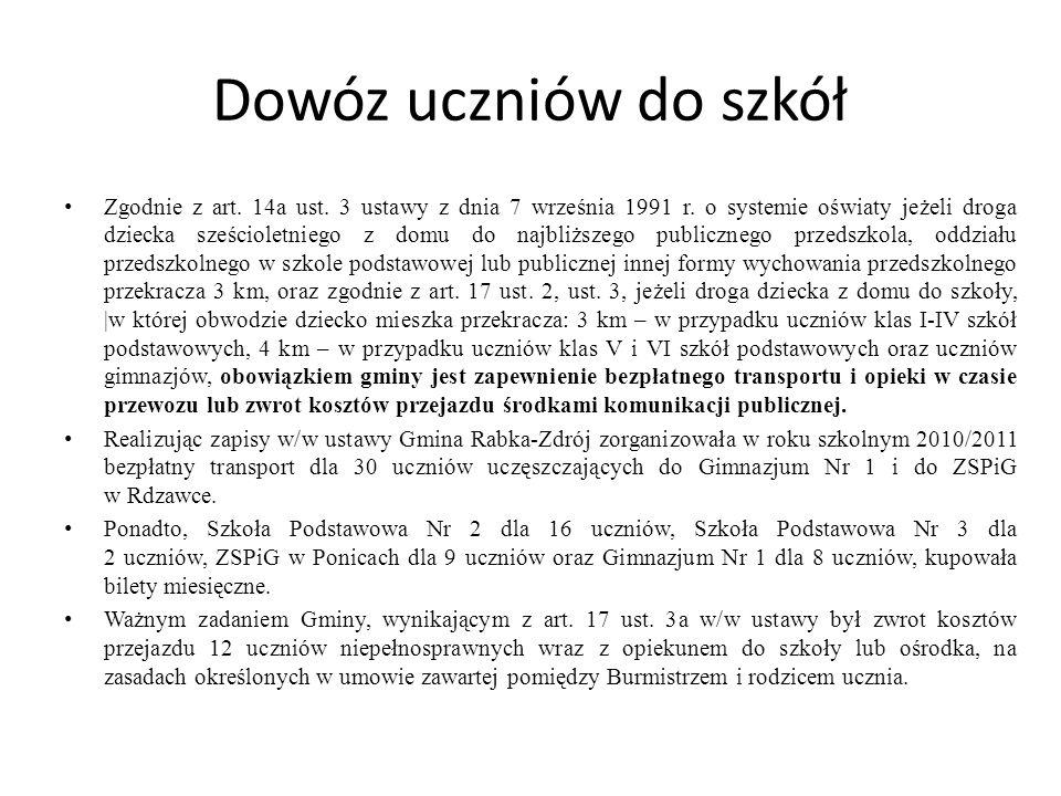Dowóz uczniów do szkół Zgodnie z art.14a ust. 3 ustawy z dnia 7 września 1991 r.