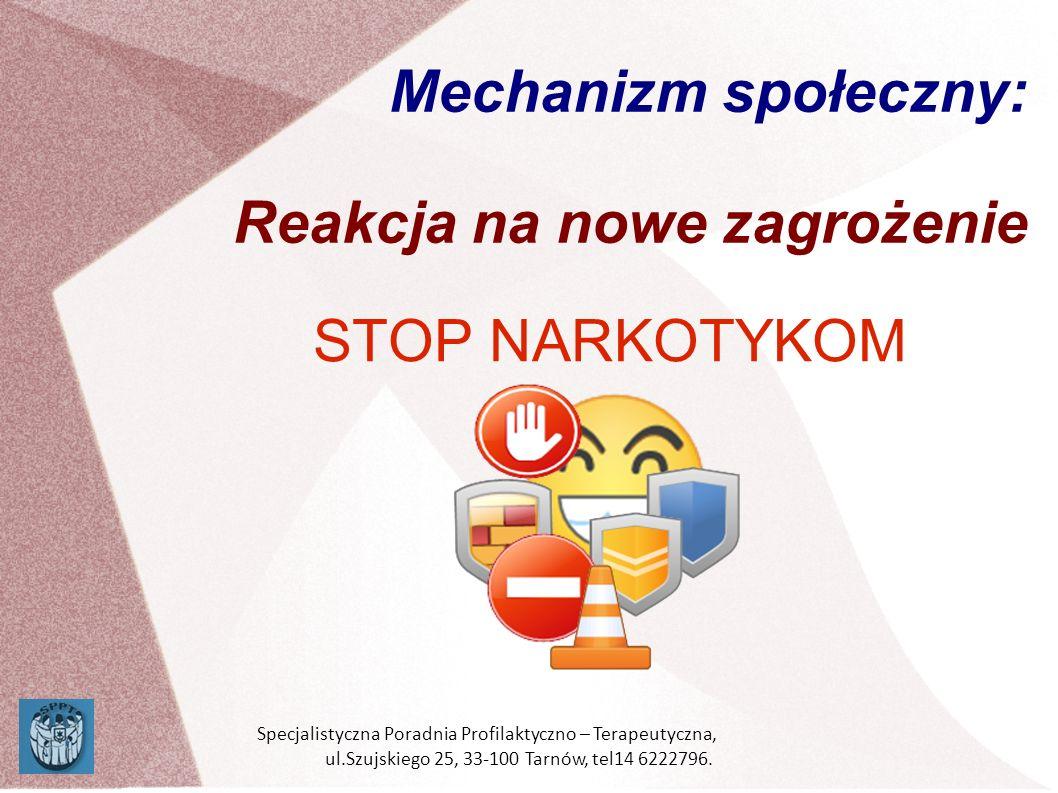Mechanizm społeczny: Reakcja na nowe zagrożenie STOP NARKOTYKOM Specjalistyczna Poradnia Profilaktyczno – Terapeutyczna, ul.Szujskiego 25, 33-100 Tarn