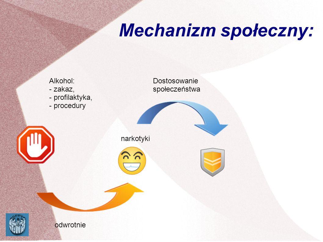 Mechanizm społeczny: Alkohol: - zakaz, - profilaktyka, - procedury narkotyki odwrotnie Dostosowanie społeczeństwa