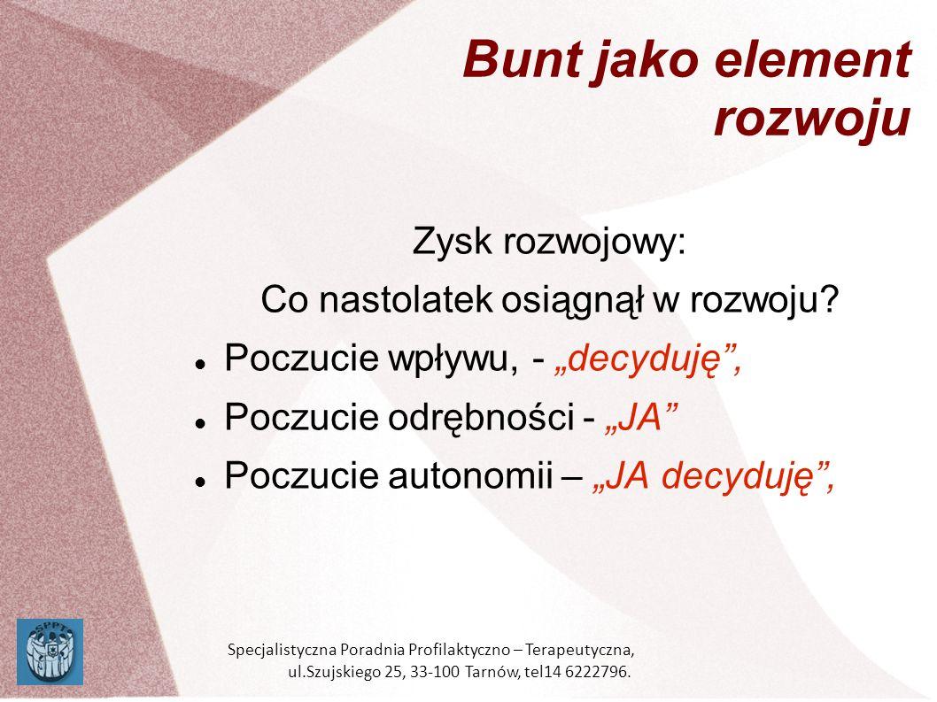 Mechanizm rozwojowy Alkohol: - zakaz, - profilaktyka, - procedury narkotyki Specjalistyczna Poradnia Profilaktyczno – Terapeutyczna, ul.Szujskiego 25, 33-100 Tarnów, tel14 6222796.