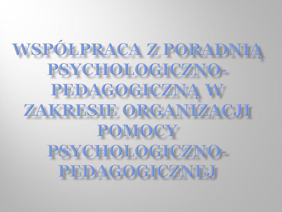 Dyrektor organizuje pomoc psychologiczno – pedagogiczną: tworzy Zespół w skład, którego wchodzą nauczyciele uczący ucznia, wychowawcy i specjaliści, wyznacza koordynatora, osobę koordynującą pracę Zespołu, prace kilku Zespołów może koordynować jedna osoba, na podstawie zaleceń Zespołu ustala dla ucznia formy, sposoby i okres udzielania pomocy psychologiczno - pedagogicznej oraz wymiar godzin, w których poszczególne formy będą realizowane (z uwzględnieniem godzin wynikających z art.