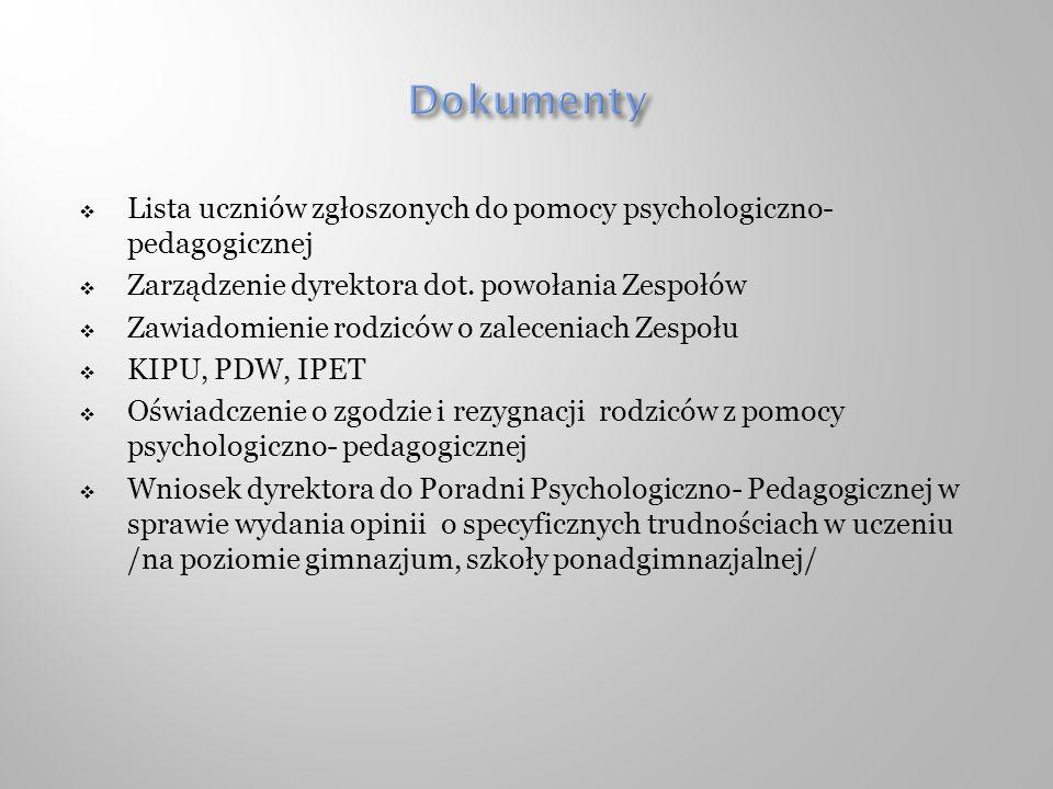 Lista uczniów zgłoszonych do pomocy psychologiczno- pedagogicznej Zarządzenie dyrektora dot. powołania Zespołów Zawiadomienie rodziców o zaleceniach Z