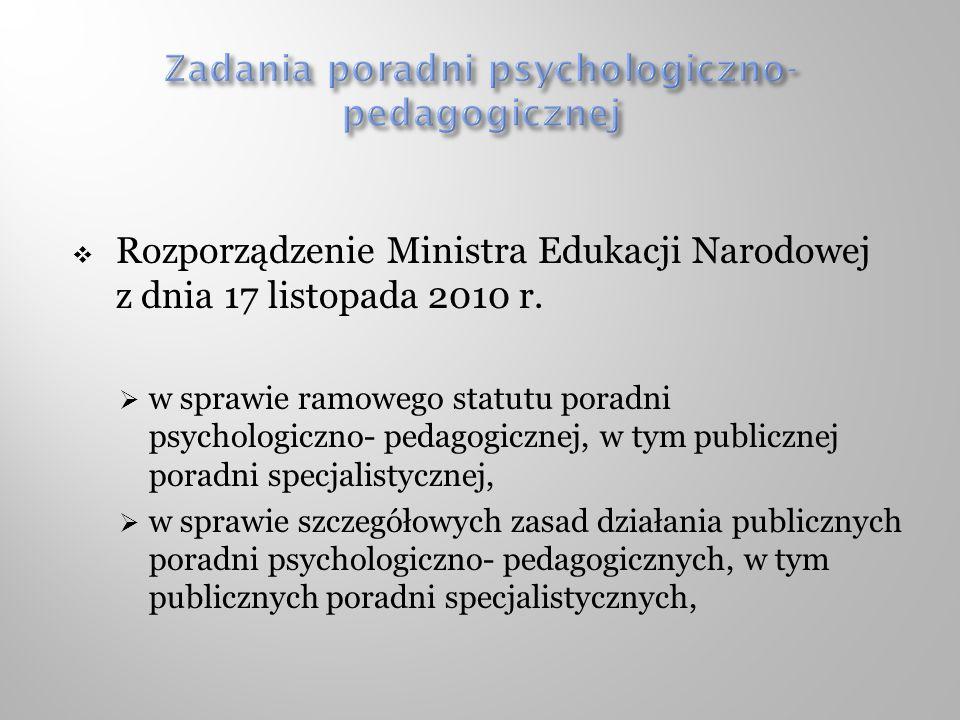 Rozporządzenie Ministra Edukacji Narodowej z dnia 17 listopada 2010 r. w sprawie ramowego statutu poradni psychologiczno- pedagogicznej, w tym publicz