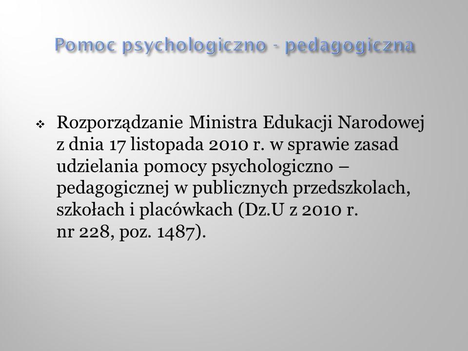 Rozporządzanie Ministra Edukacji Narodowej z dnia 17 listopada 2010 r. w sprawie zasad udzielania pomocy psychologiczno – pedagogicznej w publicznych