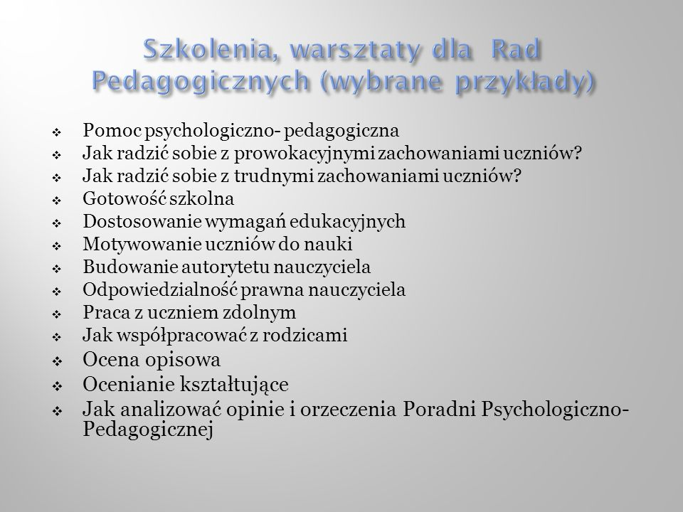 Pomoc psychologiczno- pedagogiczna Jak radzić sobie z prowokacyjnymi zachowaniami uczniów.