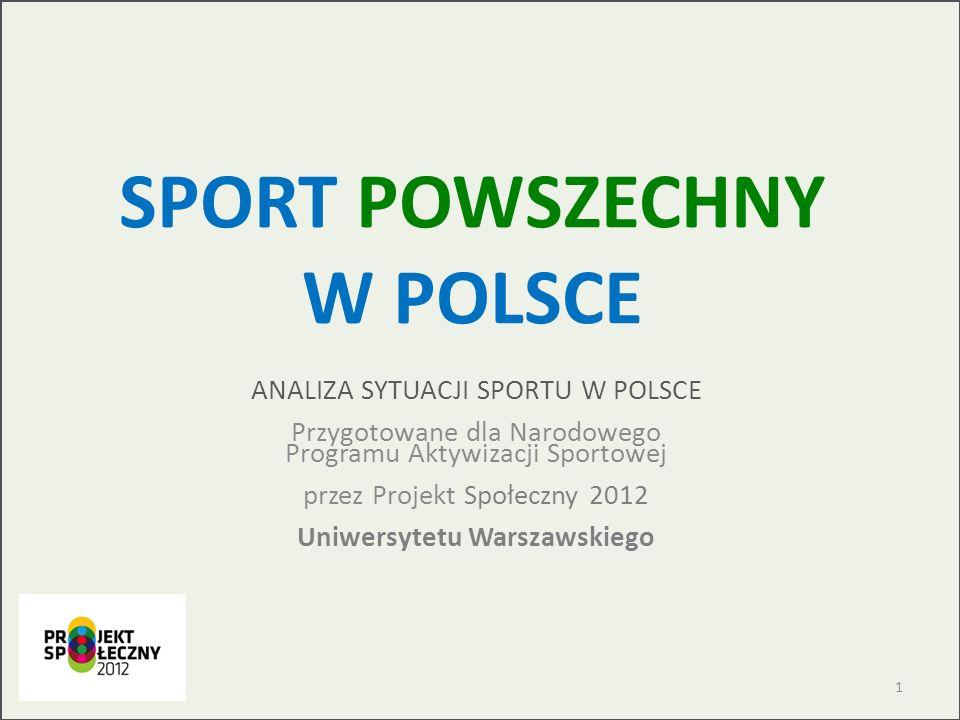 SPORT POWSZECHNY W POLSCE ANALIZA SYTUACJI SPORTU W POLSCE Przygotowane dla Narodowego Programu Aktywizacji Sportowej przez Projekt Społeczny 2012 Uni