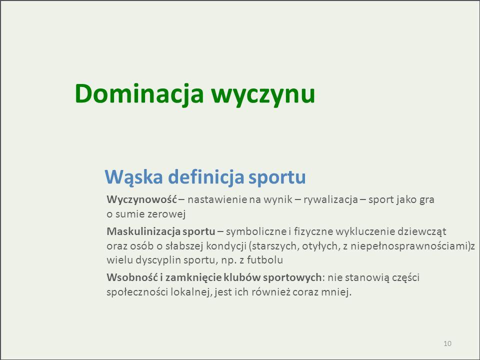 Wąska definicja sportu Wyczynowość – nastawienie na wynik – rywalizacja – sport jako gra o sumie zerowej Maskulinizacja sportu – symboliczne i fizyczn