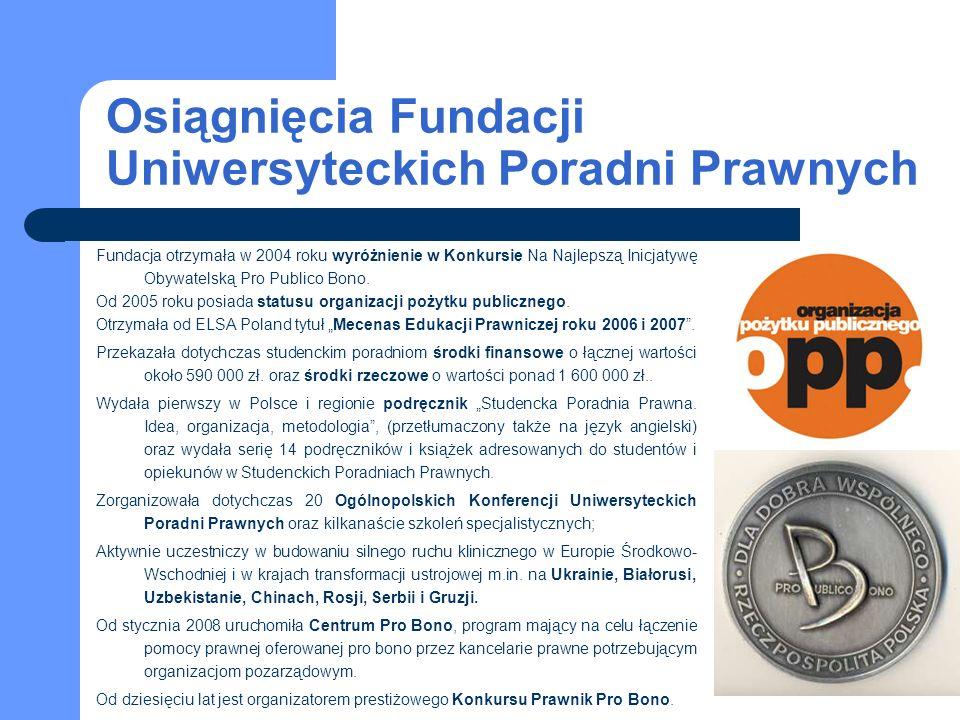 Osiągnięcia Fundacji Uniwersyteckich Poradni Prawnych Fundacja otrzymała w 2004 roku wyróżnienie w Konkursie Na Najlepszą Inicjatywę Obywatelską Pro Publico Bono.