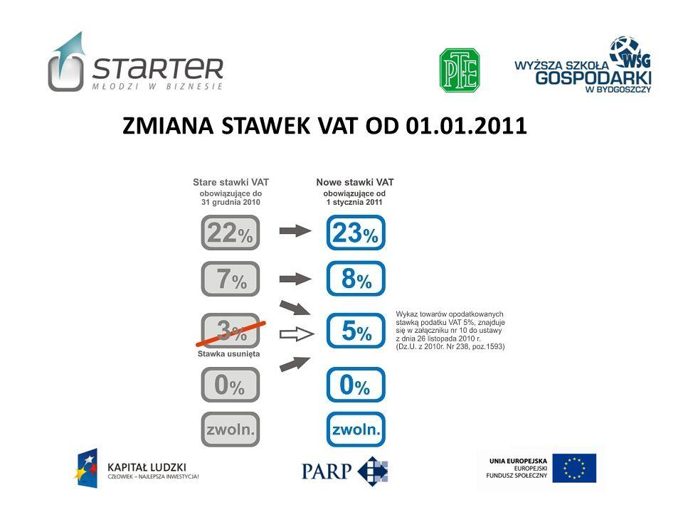 ZMIANA STAWEK VAT OD 01.01.2011