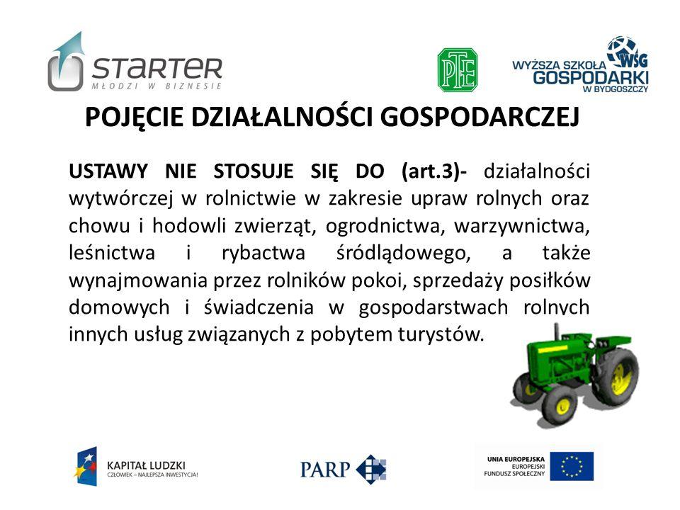 POJĘCIE DZIAŁALNOŚCI GOSPODARCZEJ USTAWY NIE STOSUJE SIĘ DO (art.3)- działalności wytwórczej w rolnictwie w zakresie upraw rolnych oraz chowu i hodowl