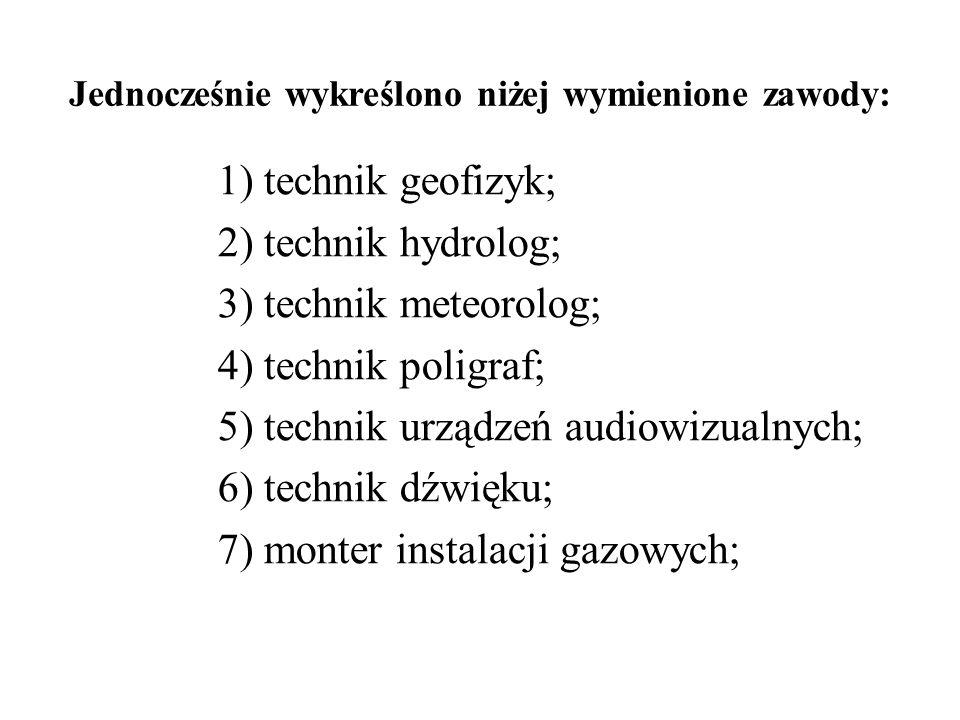 1) technik geofizyk; 2) technik hydrolog; 3) technik meteorolog; 4) technik poligraf; 5) technik urządzeń audiowizualnych; 6) technik dźwięku; 7) mont