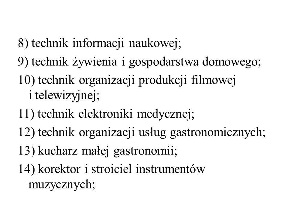 8) technik informacji naukowej; 9) technik żywienia i gospodarstwa domowego; 10) technik organizacji produkcji filmowej i telewizyjnej; 11) technik el