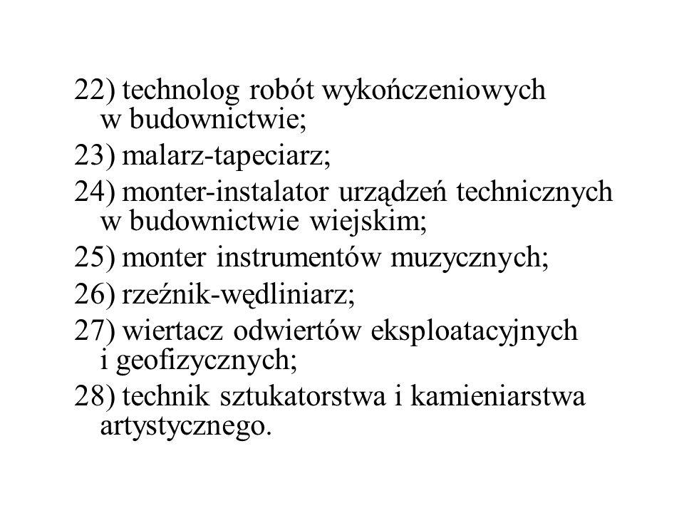 22) technolog robót wykończeniowych w budownictwie; 23) malarz-tapeciarz; 24) monter-instalator urządzeń technicznych w budownictwie wiejskim; 25) mon