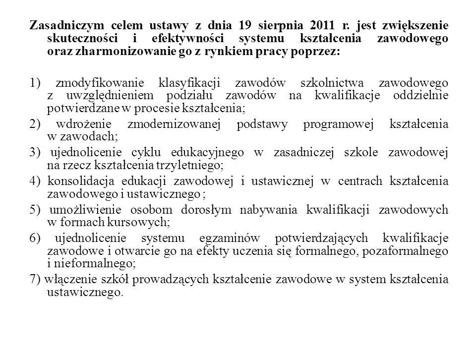 Zasadniczym celem ustawy z dnia 19 sierpnia 2011 r. jest zwiększenie skuteczności i efektywności systemu kształcenia zawodowego oraz zharmonizowanie g