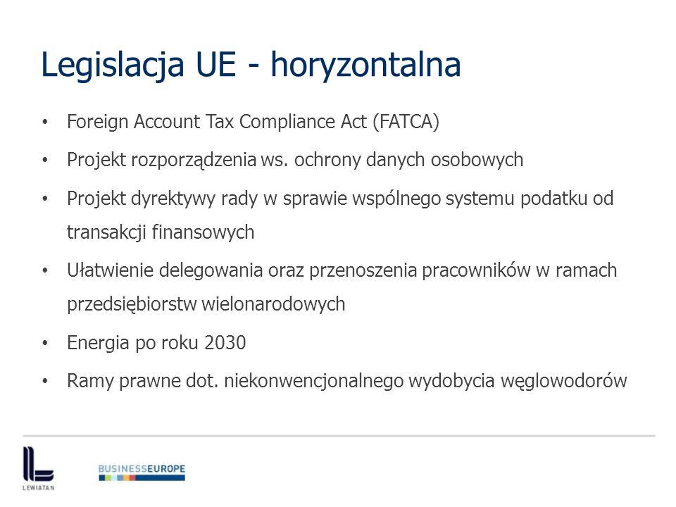 Legislacja UE - horyzontalna Foreign Account Tax Compliance Act (FATCA) Projekt rozporządzenia ws.
