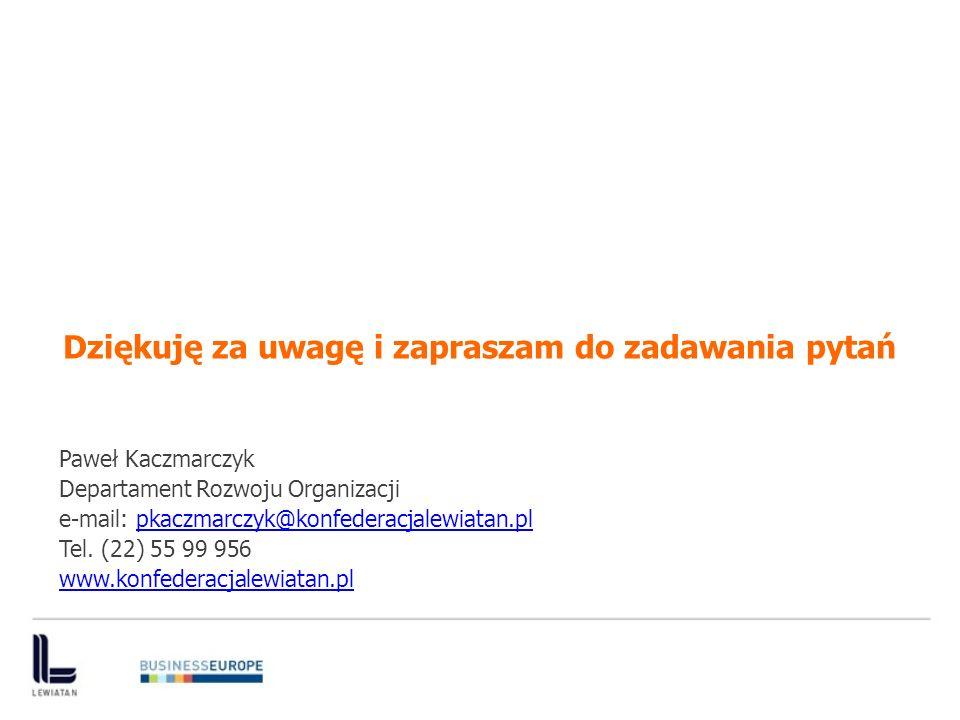 Dziękuję za uwagę i zapraszam do zadawania pytań Paweł Kaczmarczyk Departament Rozwoju Organizacji e-mail: pkaczmarczyk@konfederacjalewiatan.plpkaczmarczyk@konfederacjalewiatan.pl Tel.