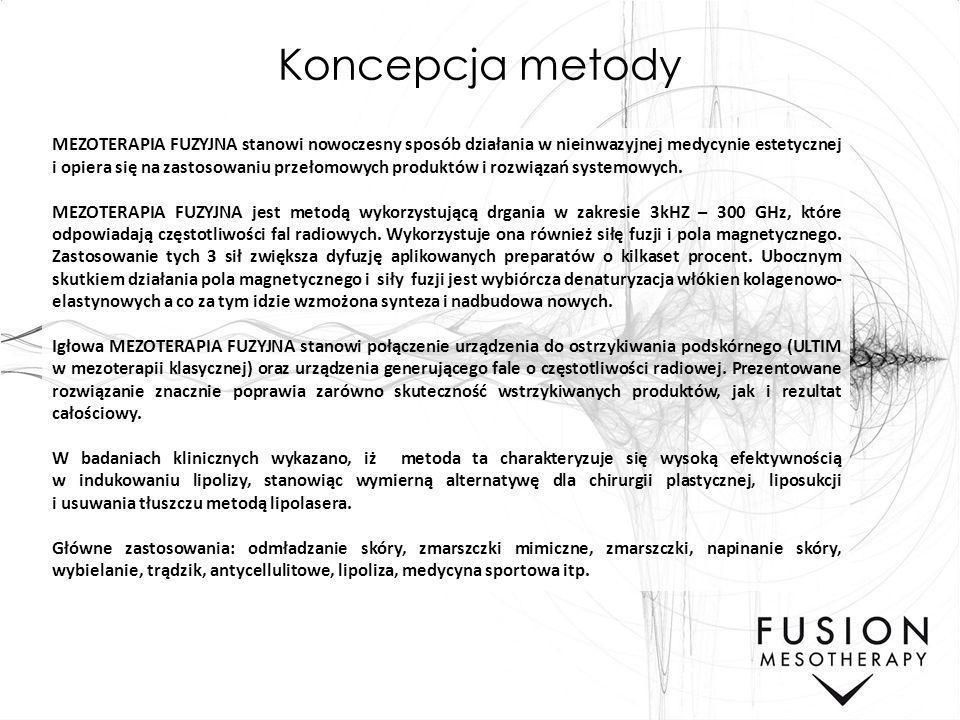Koncepcja metody MEZOTERAPIA FUZYJNA stanowi nowoczesny sposób działania w nieinwazyjnej medycynie estetycznej i opiera się na zastosowaniu przełomowy
