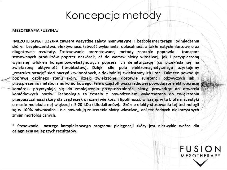 Koncepcja metody MEZOTERAPIA FUZYJNA: MEZOTERAPIA FUZYJNA zawiera wszystkie zalety nieinwazyjnej i bezbolesnej terapii odmładzania skóry: bezpieczeńst