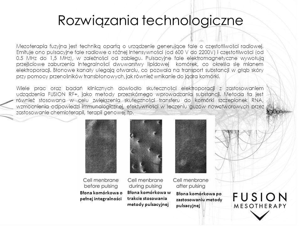 Rozwiązania technologiczne Mezoterapia fuzyjna jest techniką opartą o urządzenie generujące fale o częstotliwości radiowej. Emituje ono pulsacyjne fal