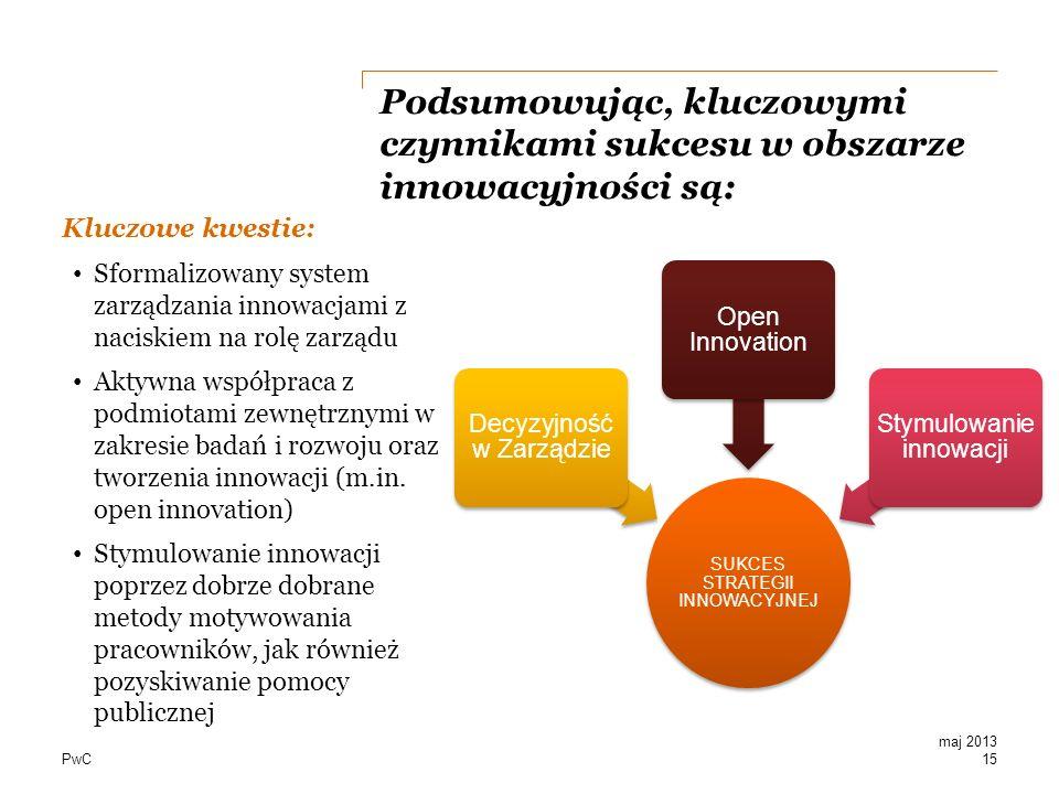 PwC Podsumowując, kluczowymi czynnikami sukcesu w obszarze innowacyjności są: Kluczowe kwestie: Sformalizowany system zarządzania innowacjami z nacisk