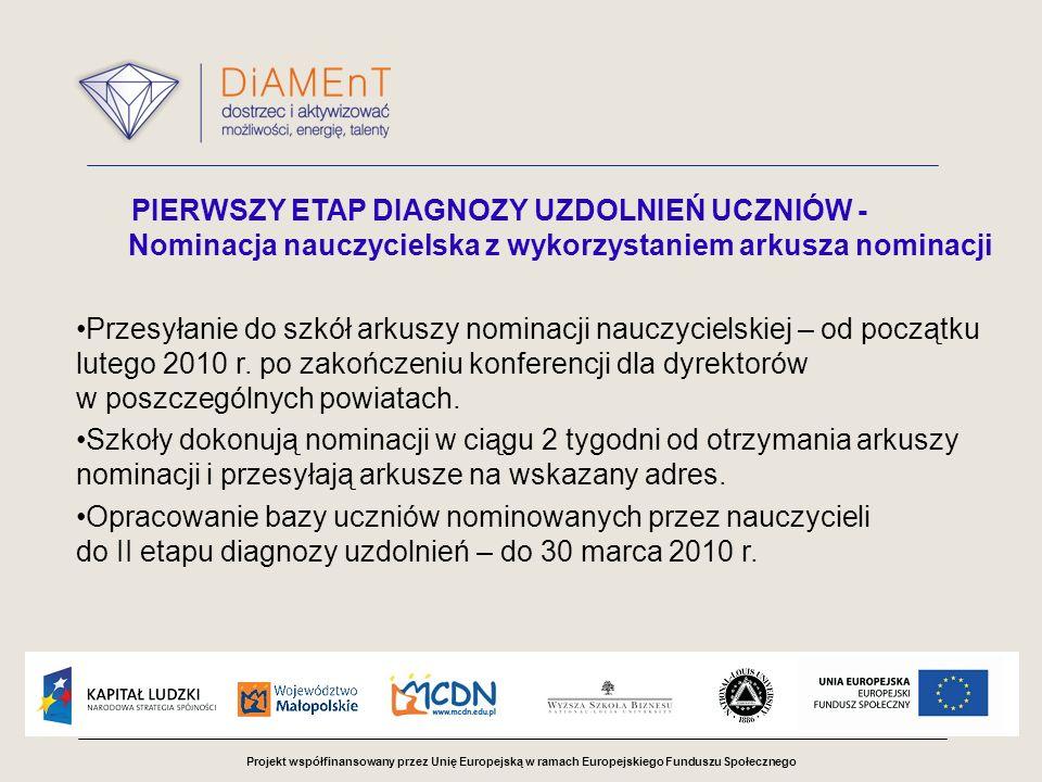 Projekt współfinansowany przez Unię Europejską w ramach Europejskiego Funduszu Społecznego PIERWSZY ETAP DIAGNOZY UZDOLNIEŃ UCZNIÓW - Nominacja nauczycielska z wykorzystaniem arkusza nominacji Przesyłanie do szkół arkuszy nominacji nauczycielskiej – od początku lutego 2010 r.