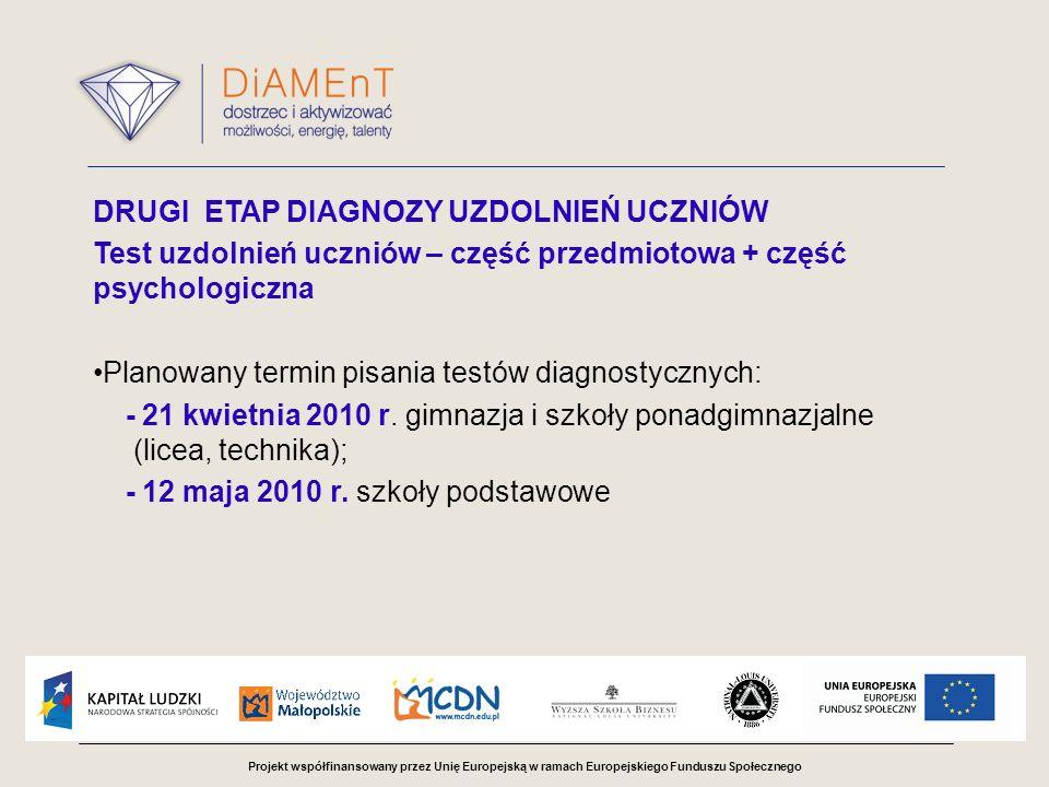 Projekt współfinansowany przez Unię Europejską w ramach Europejskiego Funduszu Społecznego DRUGI ETAP DIAGNOZY UZDOLNIEŃ UCZNIÓW Test uzdolnień uczniów – część przedmiotowa + część psychologiczna Planowany termin pisania testów diagnostycznych: - 21 kwietnia 2010 r.