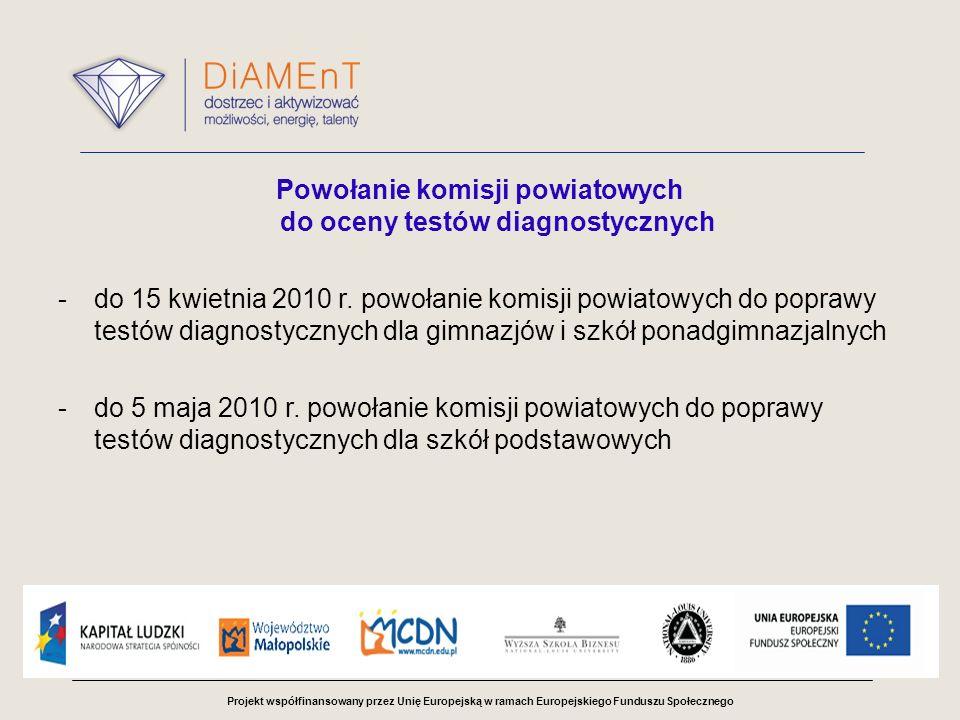 Projekt współfinansowany przez Unię Europejską w ramach Europejskiego Funduszu Społecznego Powołanie komisji powiatowych do oceny testów diagnostycznych -do 15 kwietnia 2010 r.