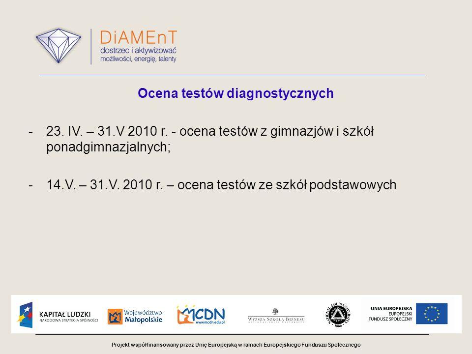 Projekt współfinansowany przez Unię Europejską w ramach Europejskiego Funduszu Społecznego Ocena testów diagnostycznych -23. IV. – 31.V 2010 r. - ocen