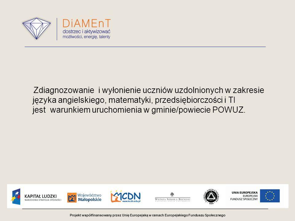 Projekt współfinansowany przez Unię Europejską w ramach Europejskiego Funduszu Społecznego Zdiagnozowanie i wyłonienie uczniów uzdolnionych w zakresie języka angielskiego, matematyki, przedsiębiorczości i TI jest warunkiem uruchomienia w gminie/powiecie POWUZ.