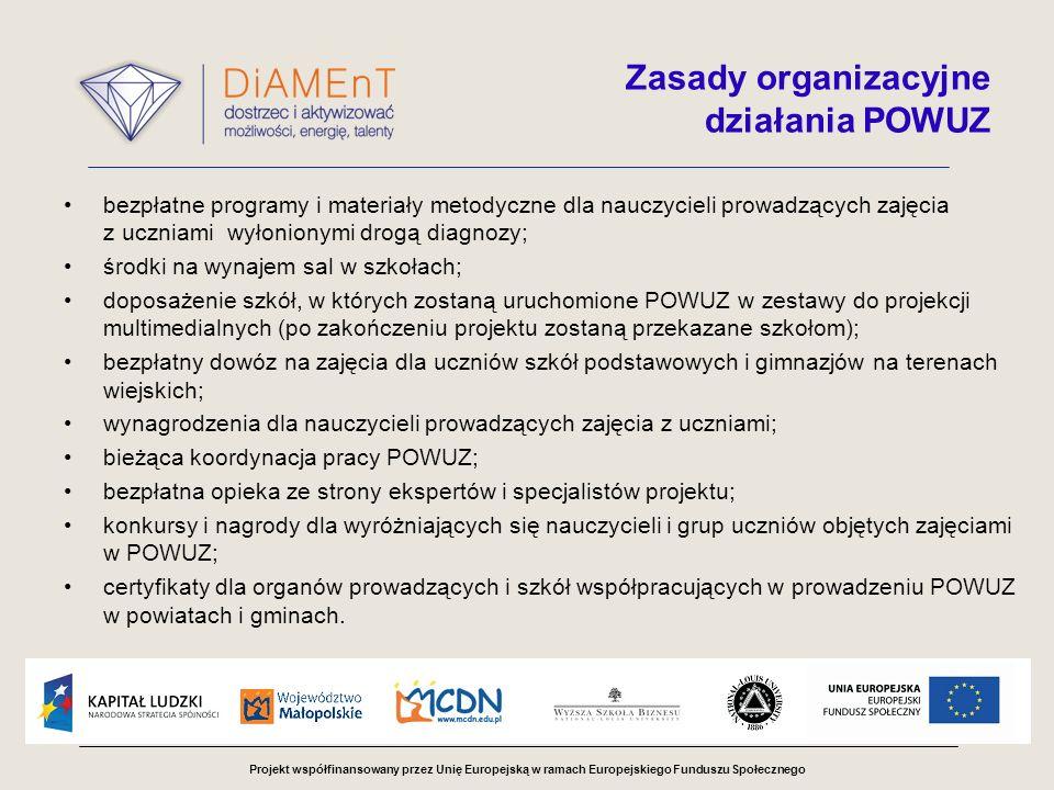 Projekt współfinansowany przez Unię Europejską w ramach Europejskiego Funduszu Społecznego Zasady organizacyjne działania POWUZ bezpłatne programy i materiały metodyczne dla nauczycieli prowadzących zajęcia z uczniami wyłonionymi drogą diagnozy; środki na wynajem sal w szkołach; doposażenie szkół, w których zostaną uruchomione POWUZ w zestawy do projekcji multimedialnych (po zakończeniu projektu zostaną przekazane szkołom); bezpłatny dowóz na zajęcia dla uczniów szkół podstawowych i gimnazjów na terenach wiejskich; wynagrodzenia dla nauczycieli prowadzących zajęcia z uczniami; bieżąca koordynacja pracy POWUZ; bezpłatna opieka ze strony ekspertów i specjalistów projektu; konkursy i nagrody dla wyróżniających się nauczycieli i grup uczniów objętych zajęciami w POWUZ; certyfikaty dla organów prowadzących i szkół współpracujących w prowadzeniu POWUZ w powiatach i gminach.