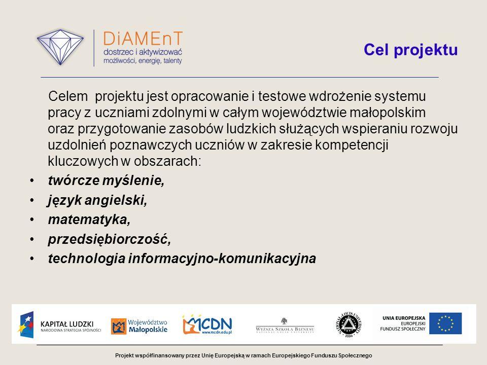 Projekt współfinansowany przez Unię Europejską w ramach Europejskiego Funduszu Społecznego Cel projektu Celem projektu jest opracowanie i testowe wdrożenie systemu pracy z uczniami zdolnymi w całym województwie małopolskim oraz przygotowanie zasobów ludzkich służących wspieraniu rozwoju uzdolnień poznawczych uczniów w zakresie kompetencji kluczowych w obszarach: twórcze myślenie, język angielski, matematyka, przedsiębiorczość, technologia informacyjno-komunikacyjna