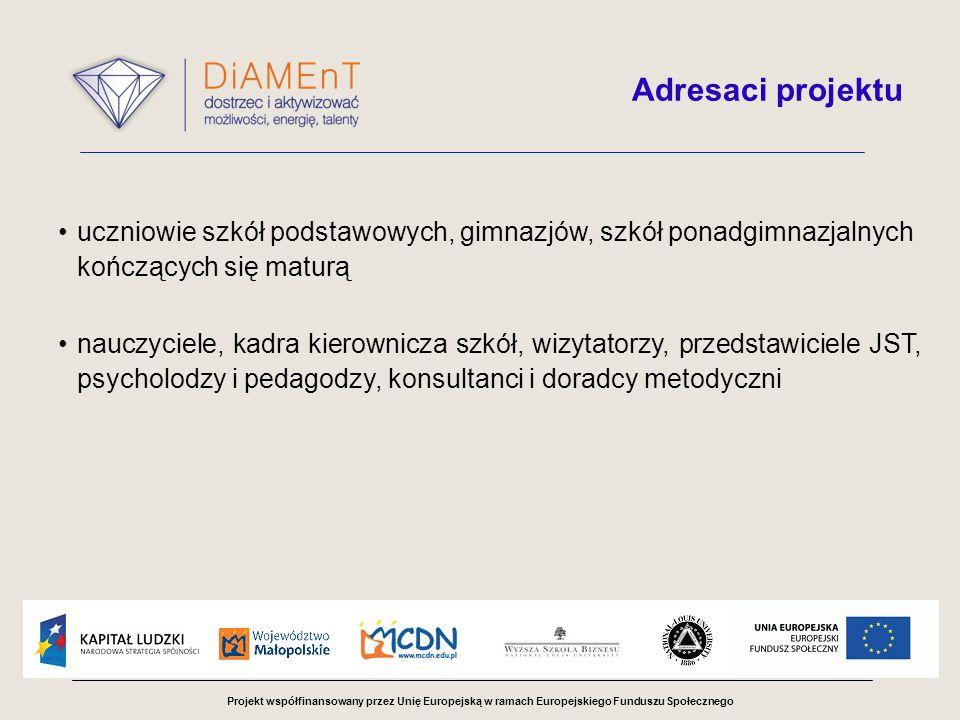 Projekt współfinansowany przez Unię Europejską w ramach Europejskiego Funduszu Społecznego Adresaci projektu uczniowie szkół podstawowych, gimnazjów, szkół ponadgimnazjalnych kończących się maturą nauczyciele, kadra kierownicza szkół, wizytatorzy, przedstawiciele JST, psycholodzy i pedagodzy, konsultanci i doradcy metodyczni