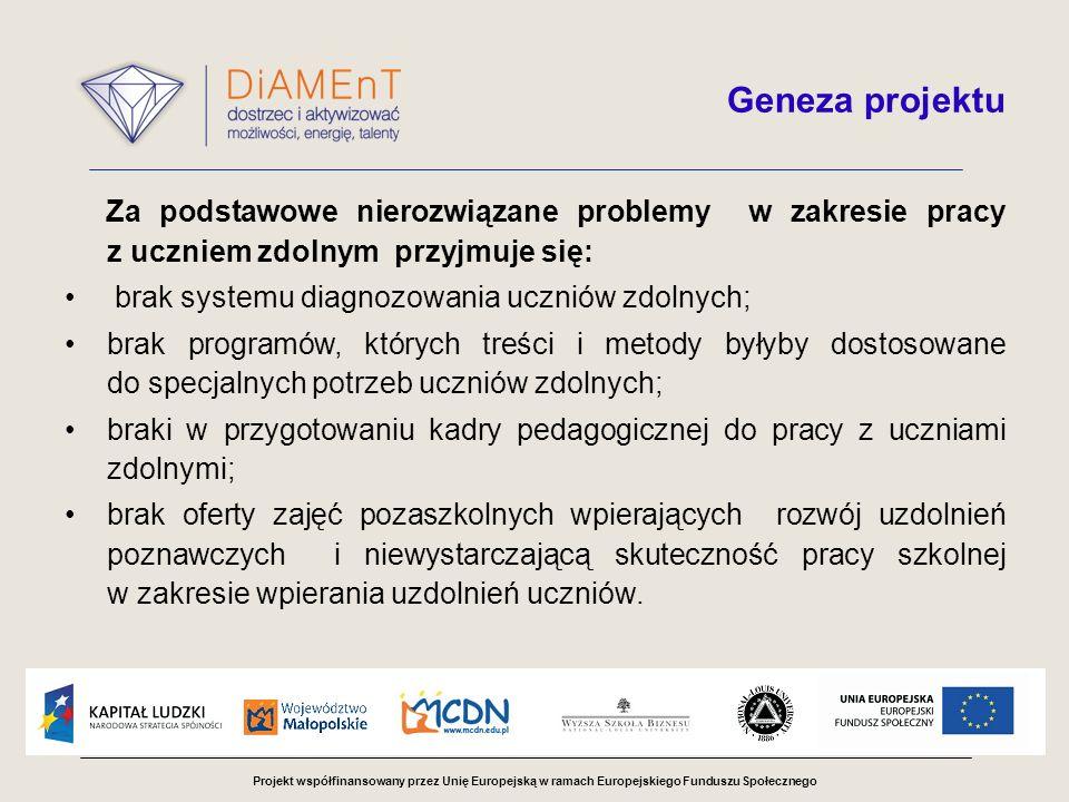 Projekt współfinansowany przez Unię Europejską w ramach Europejskiego Funduszu Społecznego Geneza projektu Za podstawowe nierozwiązane problemy w zakr