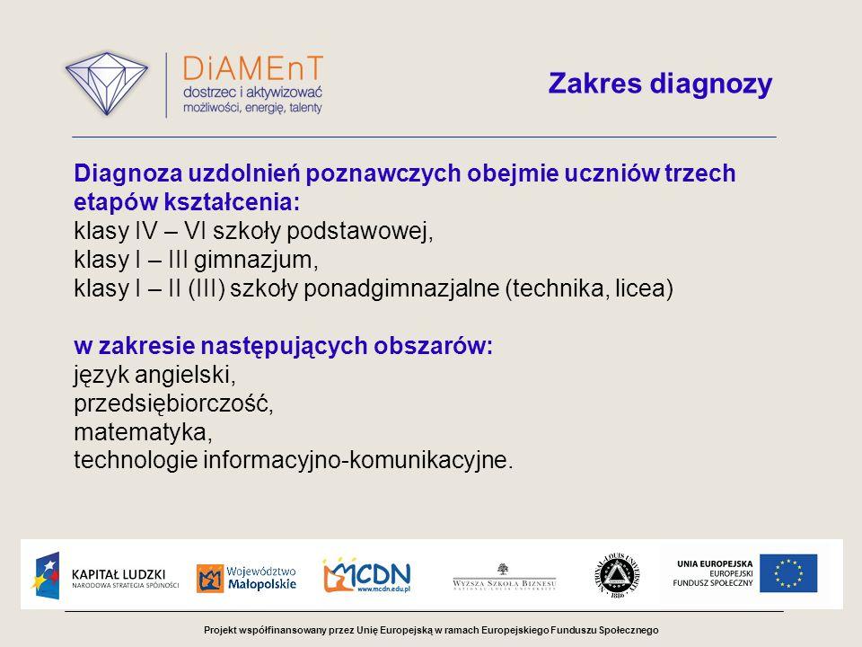 Projekt współfinansowany przez Unię Europejską w ramach Europejskiego Funduszu Społecznego Diagnoza uzdolnień poznawczych obejmie uczniów trzech etapó