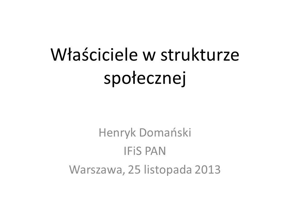 Właściciele w strukturze społecznej Henryk Domański IFiS PAN Warszawa, 25 listopada 2013