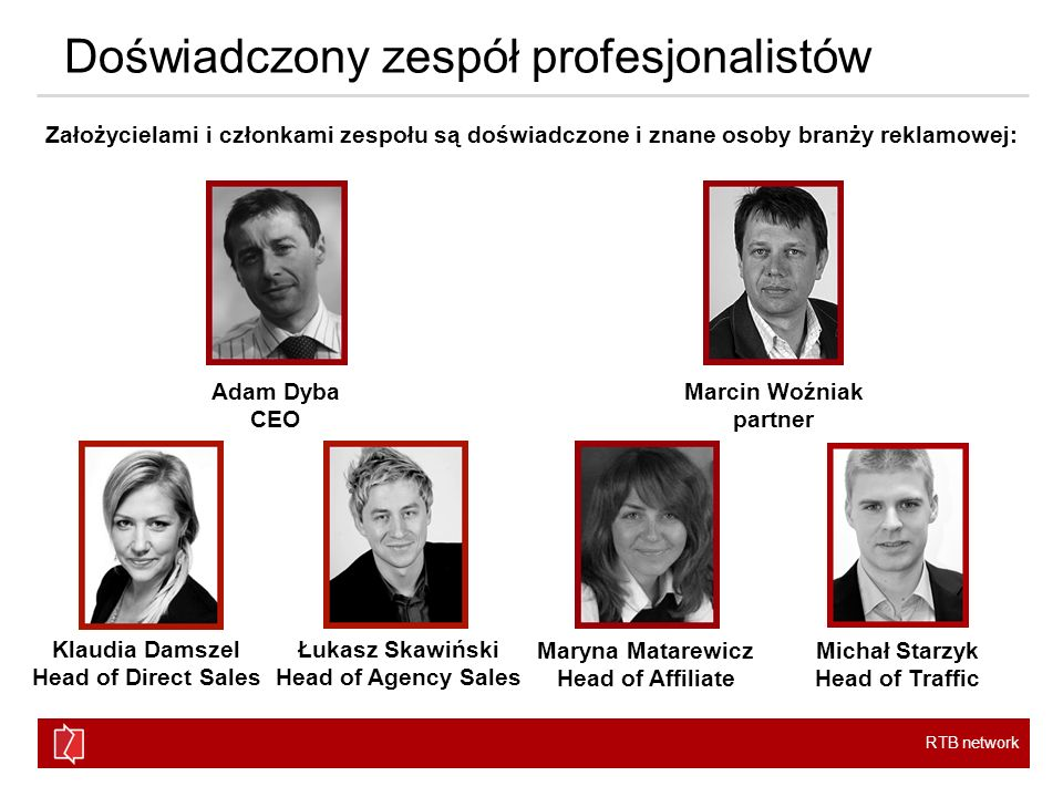 RTB network Doświadczony zespół profesjonalistów Adam Dyba CEO Marcin Woźniak partner Klaudia Damszel Head of Direct Sales Łukasz Skawiński Head of Ag