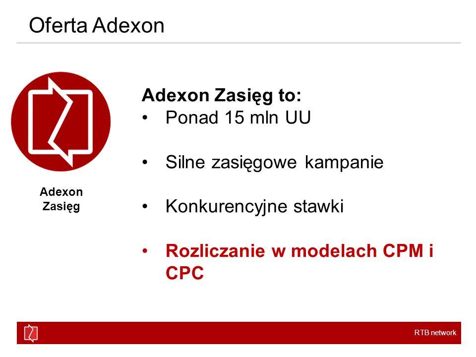 RTB network Oferta Adexon Adexon Pakiet to: 12 pakietów tematycznych Kontekstowe dopasowanie reklam Możliwość targetowania Audience Adexon Pakiet SPOŁECZNOŚCISPORTNEWSLIFESTYLEZDROWIEEDUKACJA TECHTRAVELROZRYWKAFINANCEBEAUTYMOTO