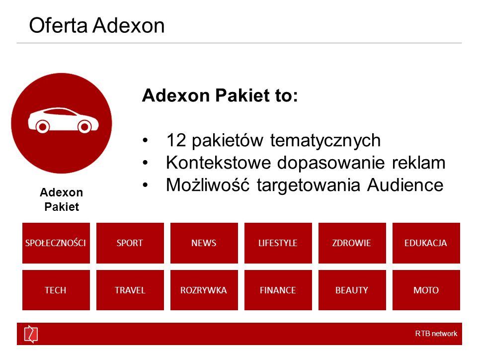 RTB network Oferta Adexon Adexon Audience to: Profile demograficzne 18 różnych profili behawioralnych opartych o twarde dane Możliwość tworzenia dowolnych profili Adexon Audience