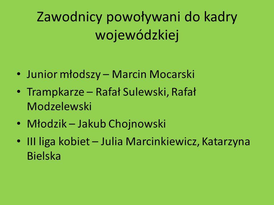 Zawodnicy powoływani do kadry wojewódzkiej Junior młodszy – Marcin Mocarski Trampkarze – Rafał Sulewski, Rafał Modzelewski Młodzik – Jakub Chojnowski