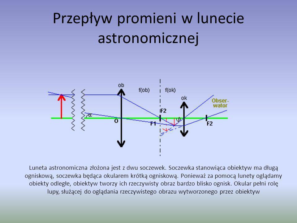 Przepływ promieni w lunecie astronomicznej Luneta astronomiczna złożona jest z dwu soczewek. Soczewka stanowiąca obiektyw ma długą ogniskową, soczewka