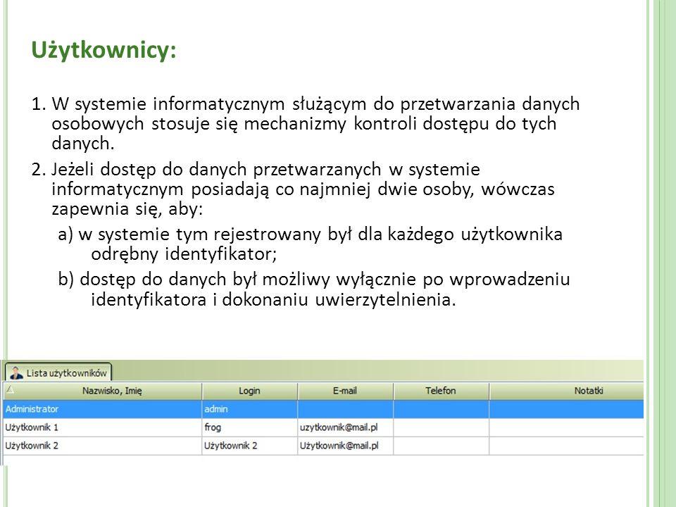 Użytkownicy: 1. W systemie informatycznym służącym do przetwarzania danych osobowych stosuje się mechanizmy kontroli dostępu do tych danych. 2. Jeżeli