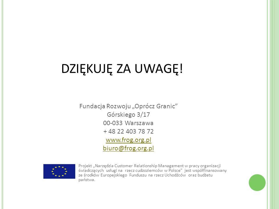 DZIĘKUJĘ ZA UWAGĘ! Projekt Narzędzia Customer Relationship Management w pracy organizacji świadczących usługi na rzecz cudzoziemców w Polsce jest wspó