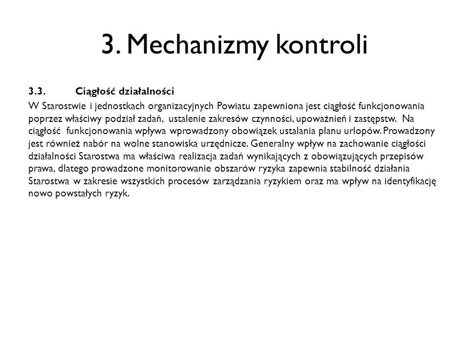 3. Mechanizmy kontroli 3.3.Ciągłość działalności W Starostwie i jednostkach organizacyjnych Powiatu zapewniona jest ciągłość funkcjonowania poprzez wł