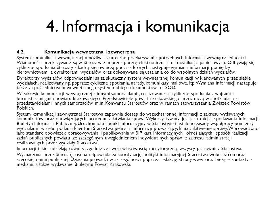4. Informacja i komunikacja 4.2.Komunikacja wewnętrzna i zewnętrzna System komunikacji wewnętrznej umożliwia skuteczne przekazywanie potrzebnych infor