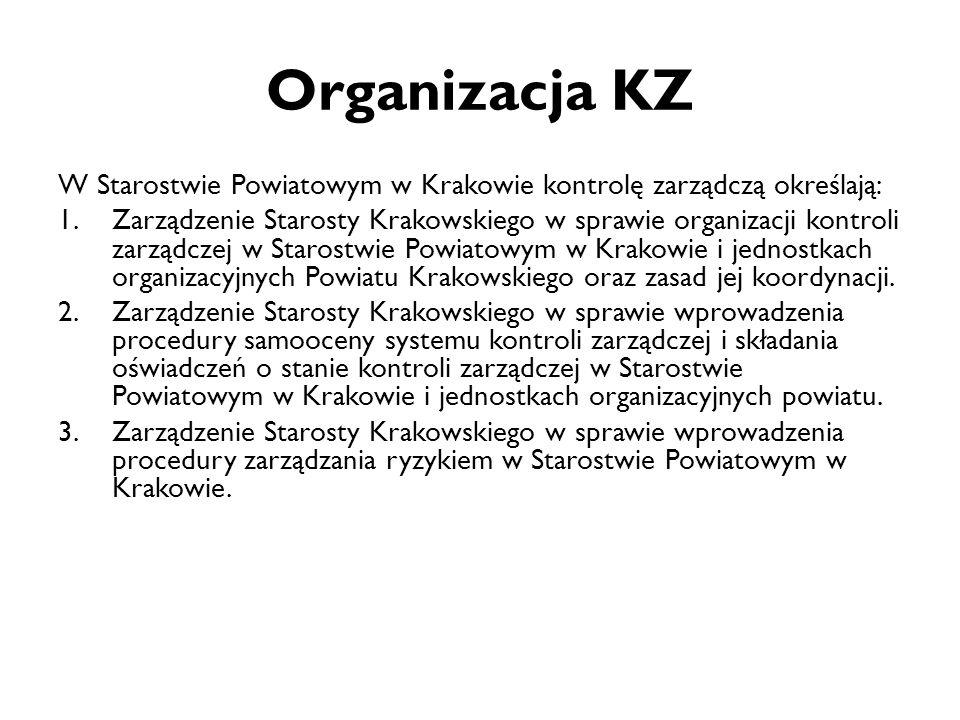 Organizacja KZ W Starostwie Powiatowym w Krakowie kontrolę zarządczą określają: 1.Zarządzenie Starosty Krakowskiego w sprawie organizacji kontroli zar